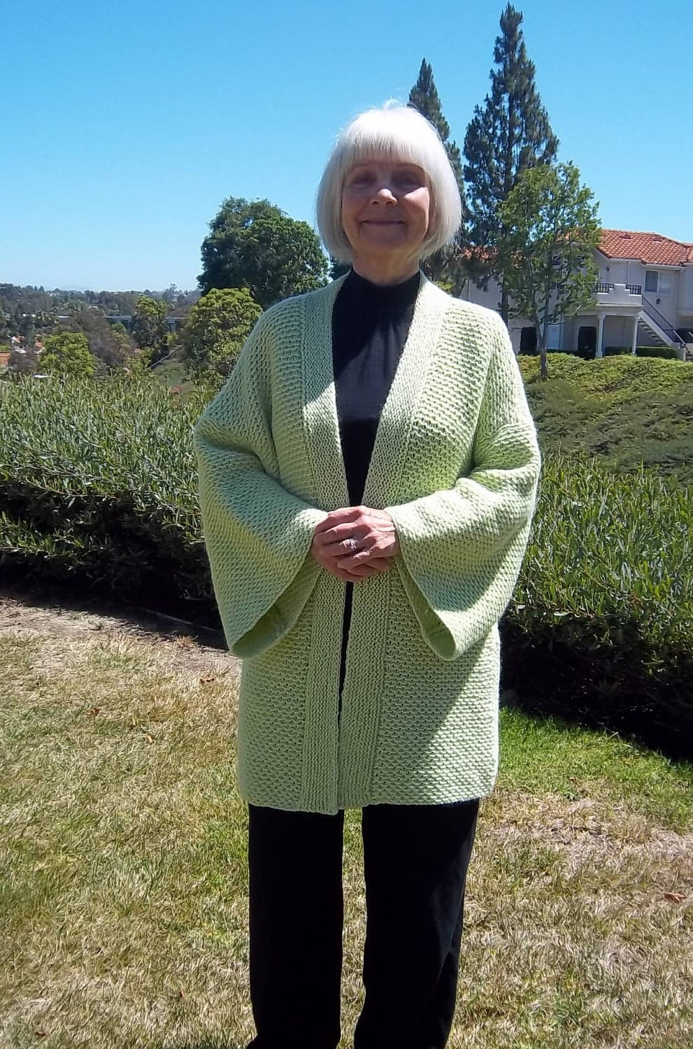 Knitting Pattern For Kimono Sweater : PDF Download Knit Pattern for the Easy Ripple Stitch Kimono Sweater/Jacket - ...