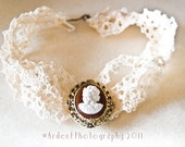 My Vintage Valentine Lace and Cameo Choker - Free Shipping