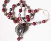 Red and Grey Stone Ceramic and Copper Necklace - Anastasia - Art Jewelry by Sarah McTernen
