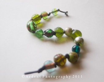 Casual Green Bracelet with round lampworked beads on Cotton Cord - Frog Pond - Art Jewelry by Sarah McTernen