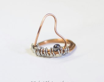 Copper Heart Ring - Mixed metal Ring with copper, silver tone and gunmetal accent  in a heart shape - Art Jewelry by Sarah McTernen