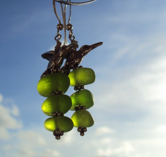Lime sea glass and humming birds earrings free shipping