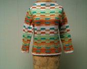 Vintage 1950s Womens Beatnik Style Woven Knit Top
