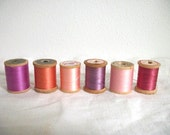 Vintage Wooden Spools of Thread- Pastel Collection