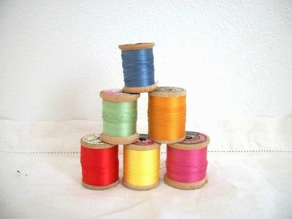 Vintage Wooden Spools of Thread- Colorful Collection