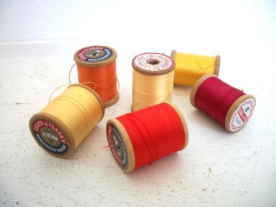 Vintage Wooden Spools of Thread- Sunrise