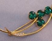 Green Crystal Clover Brooch Lapel pin Irish St Patricks Day