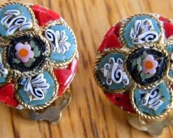 Vintage Italian Mico Mosaic Clip Earrings