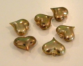 Six vintage brass puffy hearts