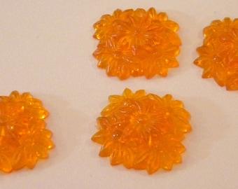 Marigold flat back flower cabochons 20mm