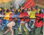 Original Haitian Oil Painting of Musicians on Parade (Canaval)