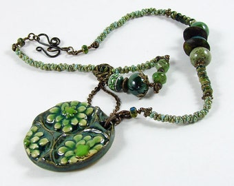 Green Pendant and handmade beads Necklace