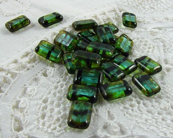 Czech Glass Beads Teal Tortoise Picasso 8x12mm- 25 Beads