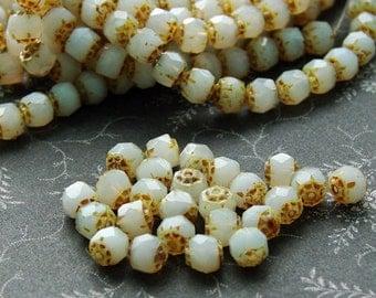Czech Renaissance Glass Beads Opaque White Picasso- 25 beads