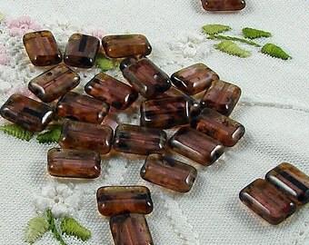 Czech Glass Beads Amethyst Picasso 8x12mm- 25 Beads