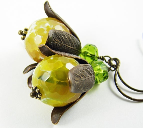 RESERVED FOR KENDRA Yellow crackle agate and antique brass earrings