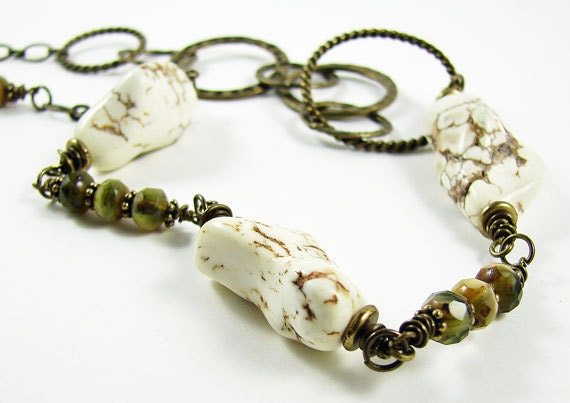 White Magnesite and Czech Glass Necklace