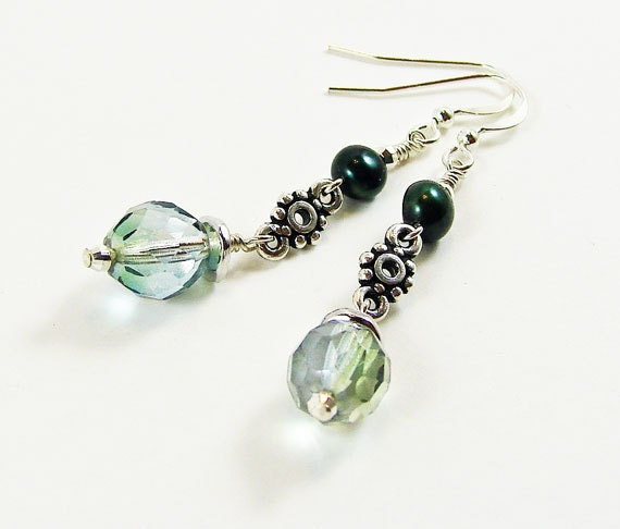 Pale Blue Green Silver Earrings