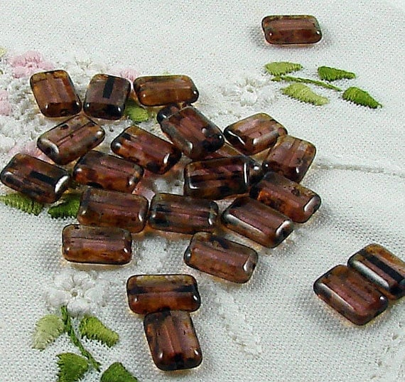 Czech Glass Beads Amethyst Picasso 8x12mm- 25 Beads
