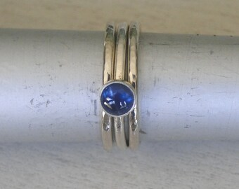 Blue Sapphire Stacking Rings Hammered Sterling Silver - Set of 3 - Bezel set Sapphire on a .925 Sterling Silver Band