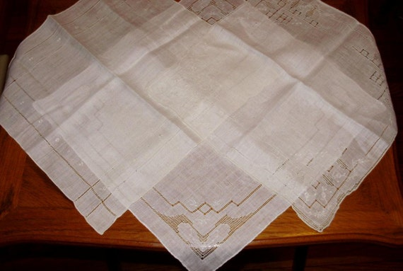 Vintage Wedding White Cotton Hanky Handkerchief Lot of 3 Needle Pulled Cutwork