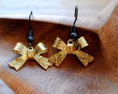 Gold and Black Glitter Bow Earrings