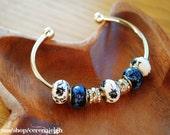 Pandora Style Blue Filigree Bangle Bracelet