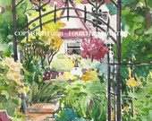Trudys Garden - small -- print of original watercolor painting