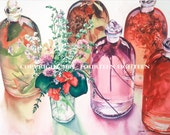 """Glass Apothecary Jars  -  Large 12"""" x 18"""" print of original watercolor painting - fits into a 18"""" x 24"""" mat"""