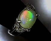 1.5 cts Solid Austrlia Natural Rainbow Flash Opal .925 Sterlig Silver Ring SIZE 6.25