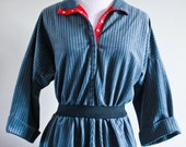 SALE - vintage 1970's grey and charcoal stripe day dress