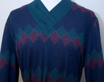 SALE - vintage 1980's belted geometic dress
