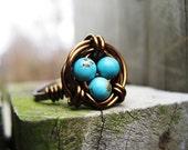 Bird's Nest Ring - Robin Blue
