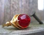 Ruby Red Ring - Gold