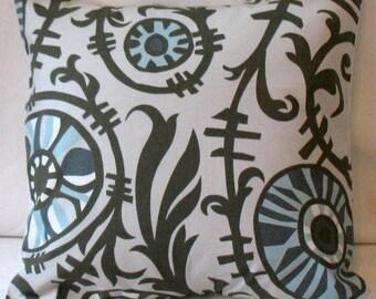 "Pillow Cover Cushion River Rock 18x18"" Suzani Chocolate Village Blue Natural"