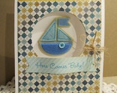 Handmade Original Baby Boy Greeting Card with Here Comes Baby Greeting