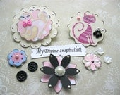 Cat Lovers Beige Black and Pink  Paper Embellishments  and Flowers for Scrapbook Cards Papercrafts