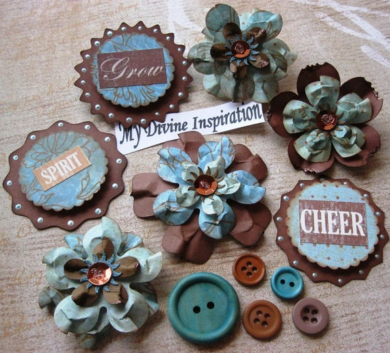 Turquoise and Brown Scrapbook Paper Embellishments