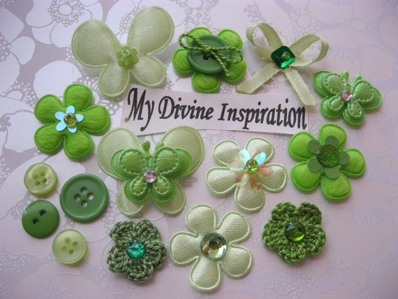 Bright  and Light Green Scrapbook Embellishment Kit