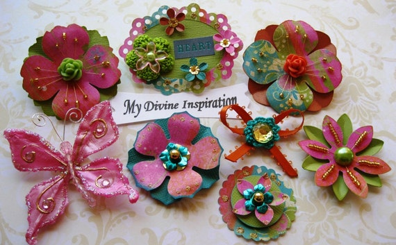 Green Orange Pink and Gold Scrapbook Paper Embellishments Butterfly and Paper Flowers
