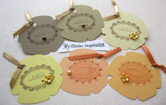 On Sale Earthy Colors Set of 6 Paper Tags for Scrapbooking Cards Mini Albums and Papercrafts
