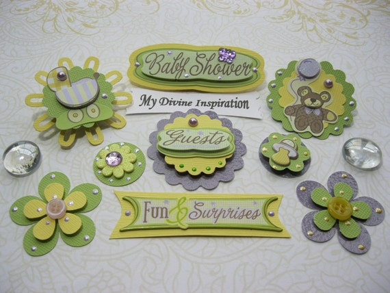 On Sale Baby Shower Paper Embellishments for Scrapbook Cards Mini Albums and Papercrafts