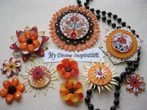 Lovely Elegant Scrapbook Embellishments and Paper Flowers
