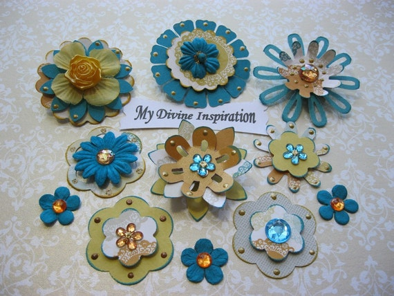 Classy Chic Yellow Gold and Turquoise Scrapbook Embellishments and Paper Flowers
