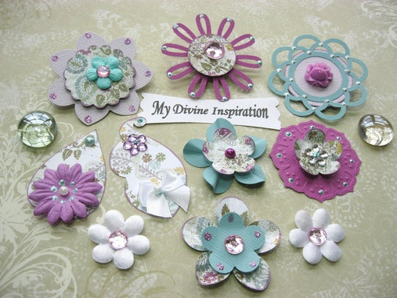 Light Magenta Teal and Pink Scrapbook Paper Embellishments and Paper Flowers