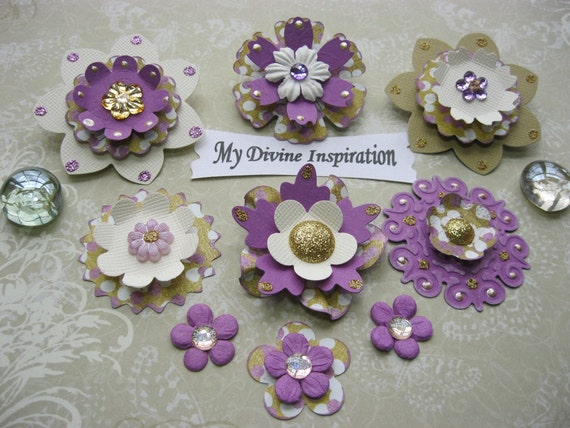 Purple Ivory and Gold  Scrapbook Paper Embellishments and Paper Flowers