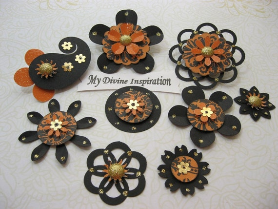 Lovely Elegant Black and Orange Scrapbook Embellishments and Paper Flowers