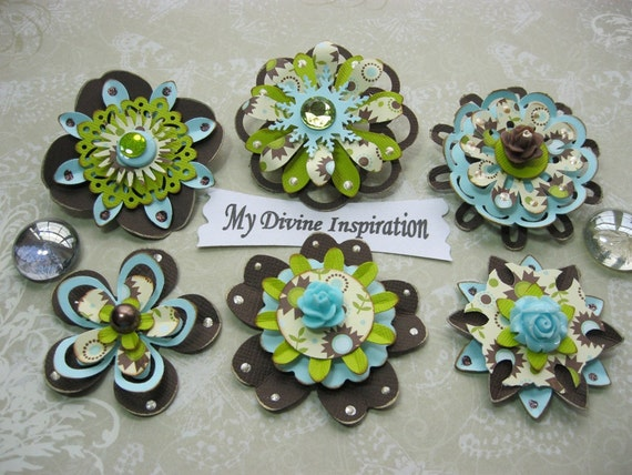 Green Blue Brown and Beige Scrapbook Embellishments and Paper Flowers