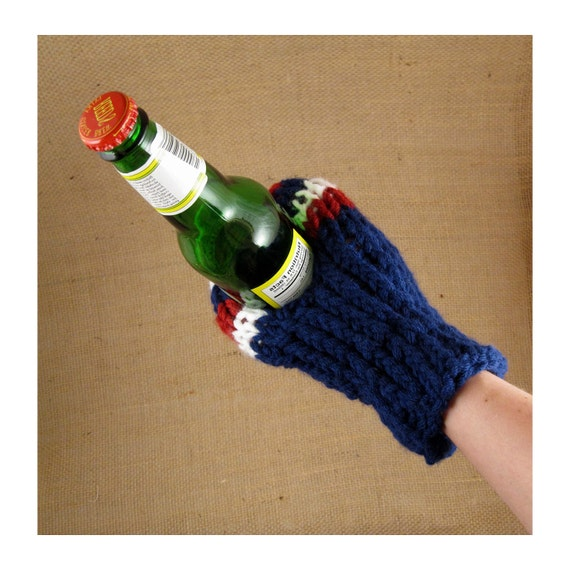 Hot and Cold Cozy Drink Mitt for Men or Women in Red, White and Blue for Patriots or Giants Fans or Anyone - Fits Most Adult Sized Hands