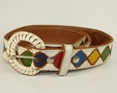 Vintage White Leather Belt with Diamond Pattern Detail